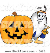 Stock Cartoon of a Happy Blimp Mascot Cartoon Character with a Carved Halloween Pumpkin by Toons4Biz