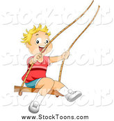 Stock Cartoon of a Happy Blond Boy Swinging by BNP Design Studio