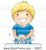 Stock Cartoon of a Happy Blond Boy Washing His Hands at a Sink by BNP Design Studio