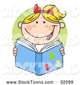 Stock Cartoon of a Happy Blond School Girl Reading a Math Book over a Green Circle by Hit Toon