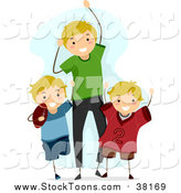 March 28th, 2016: Stock Cartoon of a Happy Blond White Dad and Sons Cheering for a Football Game by BNP Design Studio