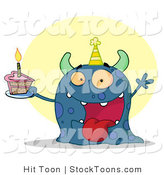 Stock Cartoon of a Happy Blue Birthday Monster by Hit Toon