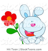 Stock Cartoon of a Happy Blue Bunny by Hit Toon