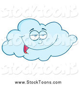 Stock Cartoon of a Happy Blue Cloud by Hit Toon