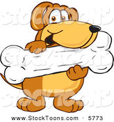 Stock Cartoon of a Happy Brown Dog Mascot Cartoon Character Holding a Big Doggy Bone Treat by Toons4Biz