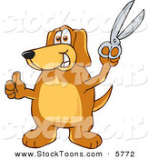 Stock Cartoon of a Happy Brown Dog Mascot Cartoon Character Holding a Pair of Scissors by Toons4Biz