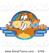 Stock Cartoon of a Happy Brown Dog Mascot Cartoon Character Logo with Open Arms by Toons4Biz