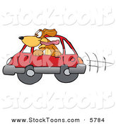 Stock Cartoon of a Happy Brown Dog Mascot Cartoon Character Sticking His Head out of a Car Window by Toons4Biz