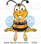 Stock Cartoon of a Happy Bumblebee Mascot Cartoon Character Sitting by Toons4Biz