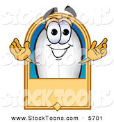 Stock Cartoon of a Happy Caucasian Blimp Mascot Cartoon Character with a Blank Label by Toons4Biz