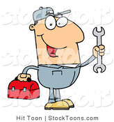 Stock Cartoon of a Happy Caucasian Mechanic by Hit Toon