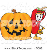 August 7th, 2013: Stock Cartoon of a Happy Chili Pepper Mascot Cartoon Character Standing with a Carved Halloween Pumpkin by Toons4Biz