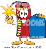 August 29th, 2013: Stock Cartoon of a Happy Dynamite Mascot Cartoon Character Holding a Blue Sales Price Tag by Toons4Biz