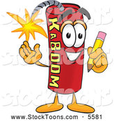 Stock Cartoon of a Happy Dynamite Mascot Cartoon Character Holding a Pencil by Toons4Biz