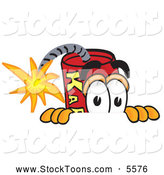 Stock Cartoon of a Happy Dynamite Mascot Cartoon Character Scared, Peeking over a Surface by Toons4Biz
