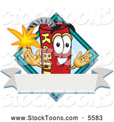 Stock Cartoon of a Happy Dynamite Mascot Cartoon Character with a Blank Ribbon Label by Toons4Biz