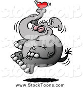 Stock Cartoon of a Happy Elephant with a Heart by Zooco