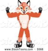 September 19th, 2013: Stock Cartoon of a Happy Fox Mascot Cartoon Character Flexing His Arm Muscles by Toons4Biz