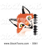 Stock Cartoon of a Happy Fox Mascot Cartoon Character Peeking Around a Corner by Toons4Biz