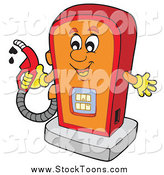 Stock Cartoon of a Happy Gas Pump Character Holding a Nozzle by Visekart