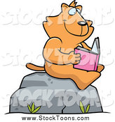 Stock Cartoon of a Happy Ginger Cat Reading a Book on a Boulder by Cory Thoman