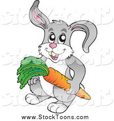 Stock Cartoon of a Happy Gray Rabbit Holdinng a Carrot by Visekart