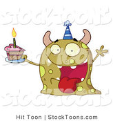 Stock Cartoon of a Happy Green Birthday Monster by Hit Toon