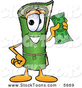 Stock Cartoon of a Happy Green Carpet Mascot Cartoon Character Holding a Dollar Bill by Toons4Biz