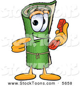 Stock Cartoon of a Happy Green Carpet Mascot Cartoon Character Holding a Telephone by Toons4Biz