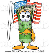 Stock Cartoon of a Happy Green Carpet Mascot Cartoon Character Pledging Allegiance to the American Flag by Toons4Biz