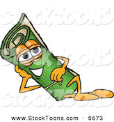 Stock Cartoon of a Happy Green Carpet Mascot Cartoon Character Reclined and Resting His Face on His Hand by Toons4Biz