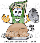 Stock Cartoon of a Happy Green Carpet Mascot Cartoon Character with a Thanksgiving Turkey on a Platter by Toons4Biz