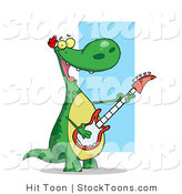 Stock Cartoon of a Happy Green Dinosaur by Hit Toon