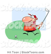 Stock Cartoon of a Happy Guy Swinging His Golf Club by Hit Toon