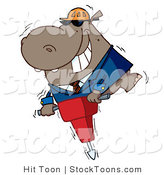 Stock Cartoon of a Happy Hippo Worker by Hit Toon