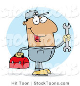 Stock Cartoon of a Happy Hispanic Mechanic by Hit Toon