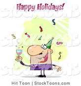 Stock Cartoon of a Happy Holidays Greeting by Hit Toon