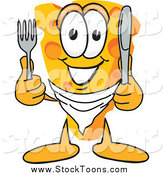 Stock Cartoon of a Happy Hungry Cheese Character Holding Cutlery by Toons4Biz