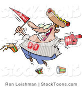 Stock Cartoon of a Happy Male Baseball Fan with a Hot Dog Hat by Ron Leishman