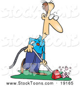 Stock Cartoon of a Happy Male Carpet Cleaner by Toonaday