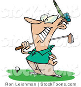 Stock Cartoon of a Happy Male Golfer by Toonaday
