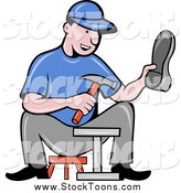Stock Cartoon of a Happy Male Shoe Maker Worker Man Sitting by Patrimonio