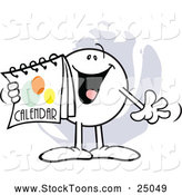Stock Cartoon of a Happy Moodie Character with a Calendar by Johnny Sajem