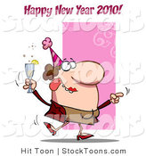 Stock Cartoon of a Happy New Year 2010 by Hit Toon