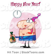 Stock Cartoon of a Happy New Year Greeting by Hit Toon