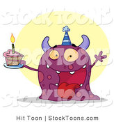 Stock Cartoon of a Happy Purple Birthday Monster by Hit Toon