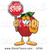 Stock Cartoon of a Happy Red Apple Character Mascot Holding a Red Stop Sign by Toons4Biz