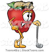 Stock Cartoon of a Happy Red Apple Character Mascot Leaning on a Golf Club While Golfing by Toons4Biz
