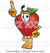 Stock Cartoon of a Happy Red Apple Character Mascot Pointing Upwards by Toons4Biz