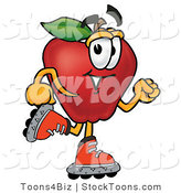 Stock Cartoon of a Happy Red Apple Character Mascot Roller Blading on Inline Skates by Toons4Biz